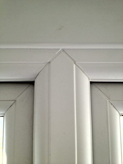 inside view of welded mullion on a plastic window with sash either side