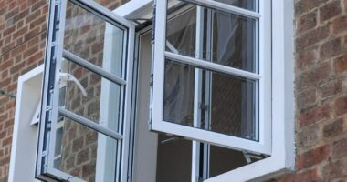 close up of some aluminium windows