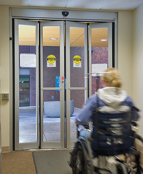 automatic folding doors such as these to aid disabled access have been available commercially for a number of years.