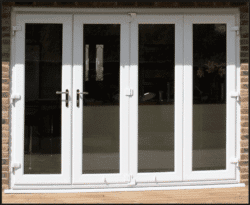 PVCu BIfolding Doors with thicker sight lines than their aluminium counterparts