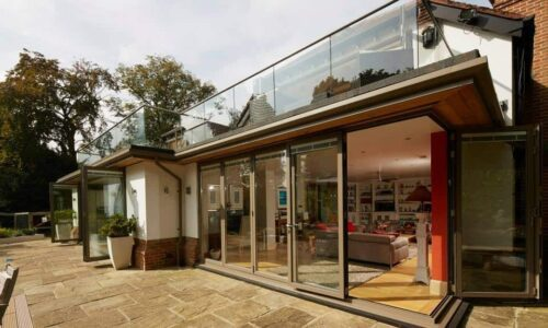 bifolding doors with a low threshold