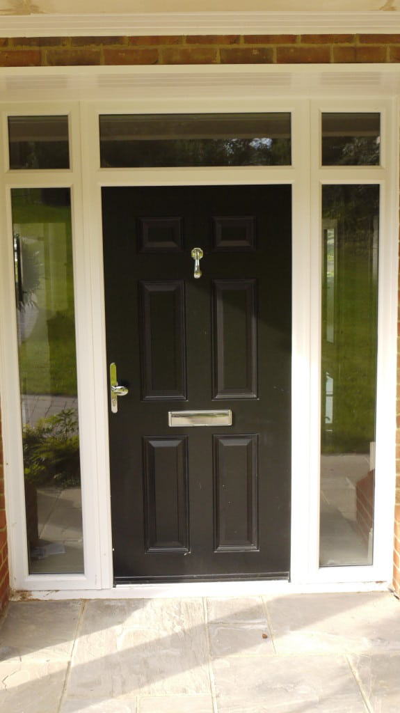 a composite door will comprise a pvcu frame but will not match white powder coated aluminium that well