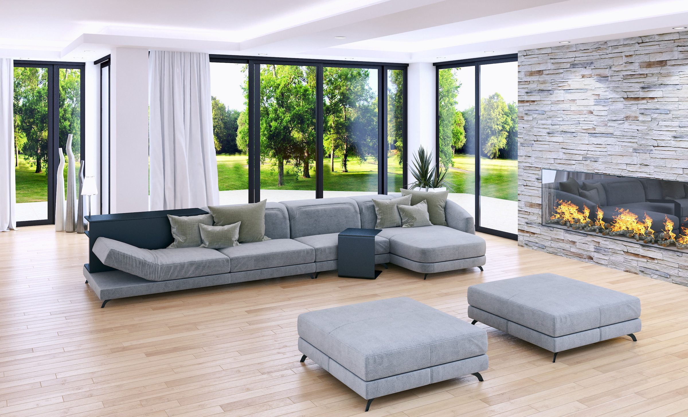 french doors, sliding doors or bifolding doors shown in a large sitting room