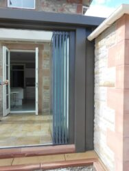 In the fully folded position, frameless bifolding doors take up much less space than fully framed doors.