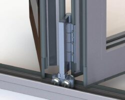 the new heavy duty roller in the aluk hd door is what offers additional glass weight. (image courtesy of aluk)
