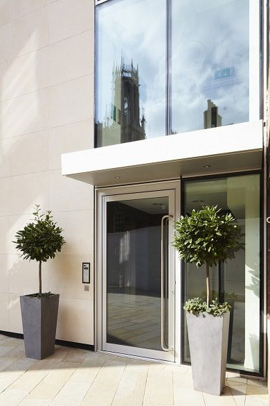 the soleal commercial door from technal is slimline, robust and very attractive.