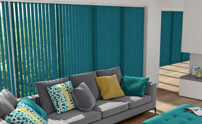 vertical blinds can be cost effective but consideration should be given to opening in doors.
