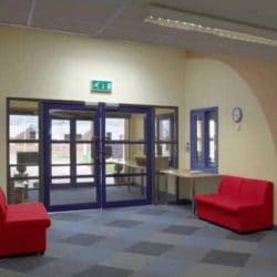 commercial aluminium doors feature heavily in high use buildings such as schools.