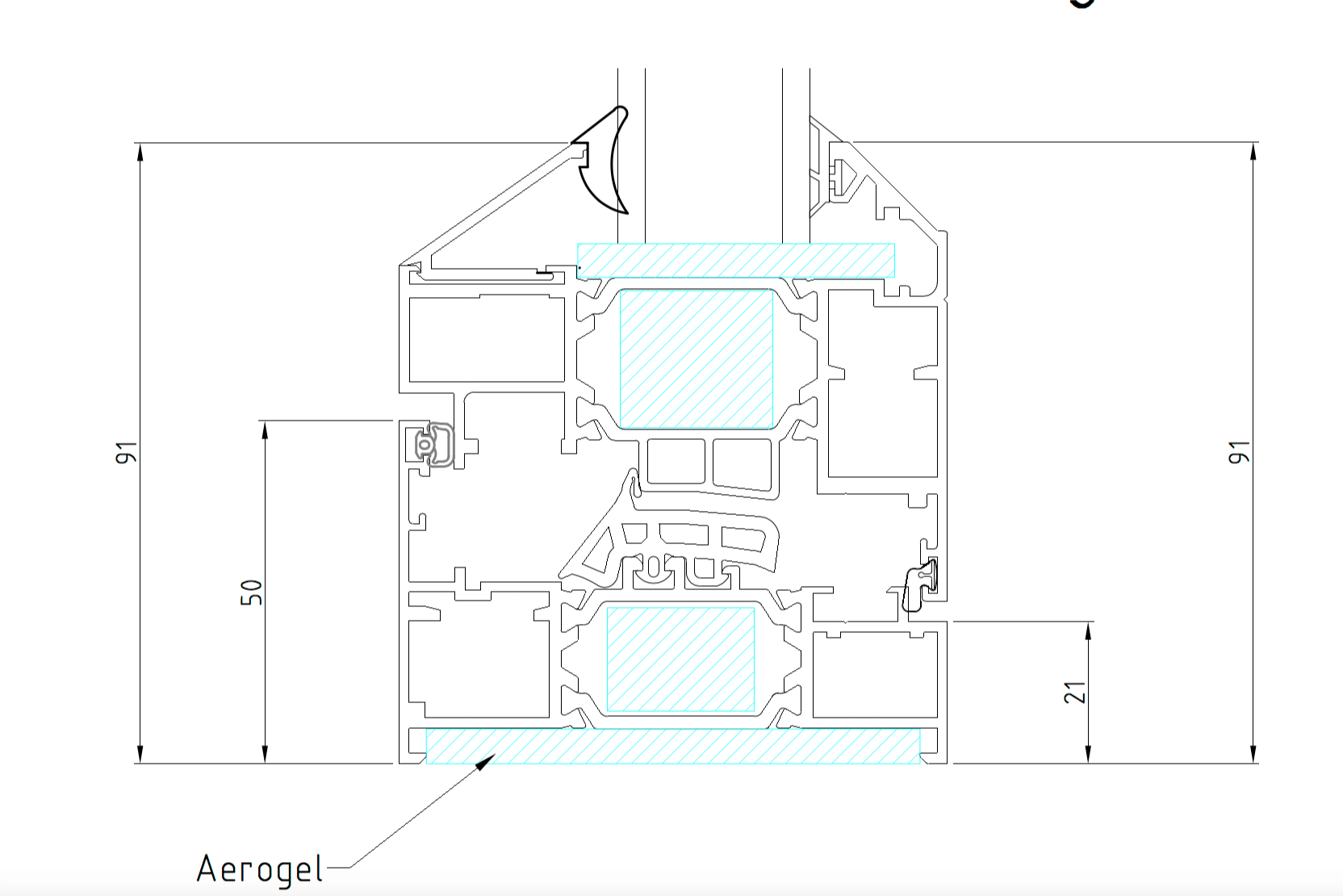 origin window outer frame and vent section.