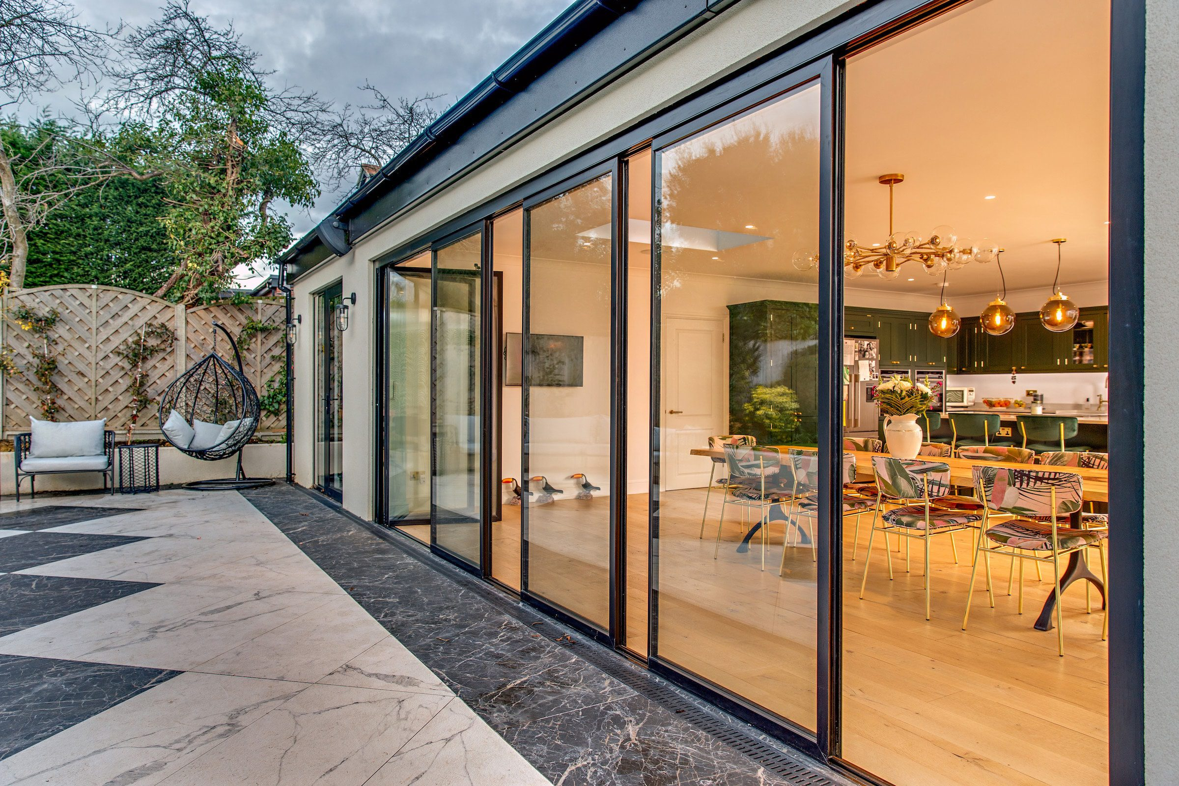 slide and turn patio doors in a new extension