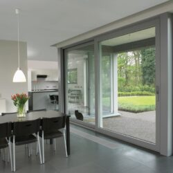 Two panel air sliding doors.