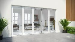 Alufold Warmcore bifolding doors in white paint.