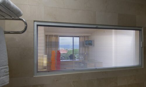 bathroom with integral blind