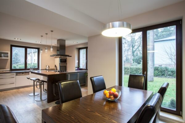 grey french doors in a home