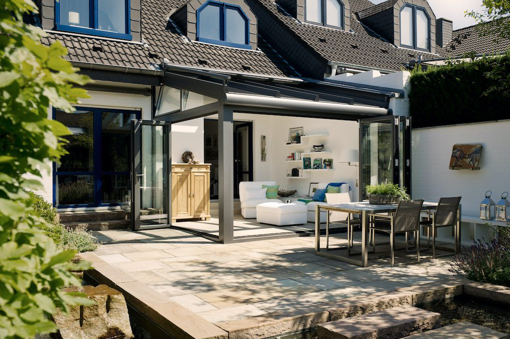 glazed extensions by solarlux in grey