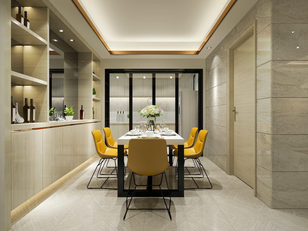 cortizo bifold doors in an apartment used as a room divider