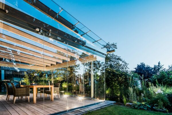 solarlux canopies and glass houses in wood