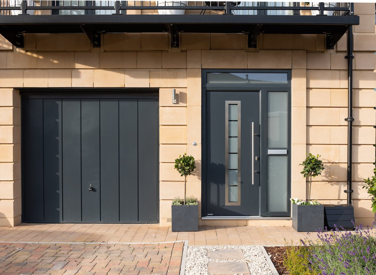 aluminium front doors in new build