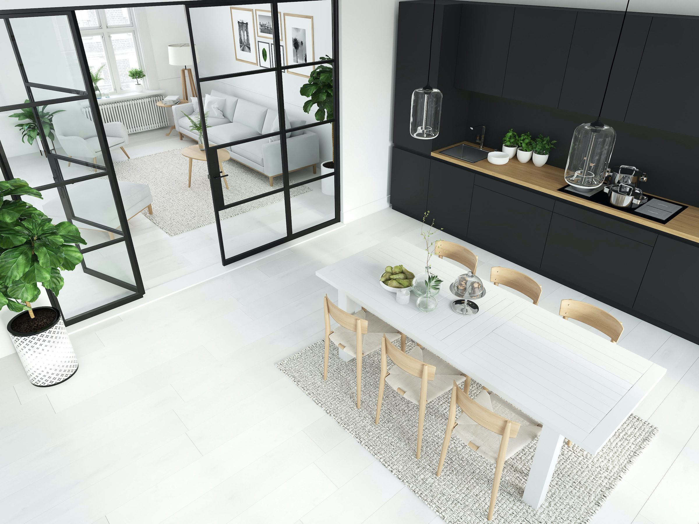 alitherm interior steel look doors and screens in black crittall style