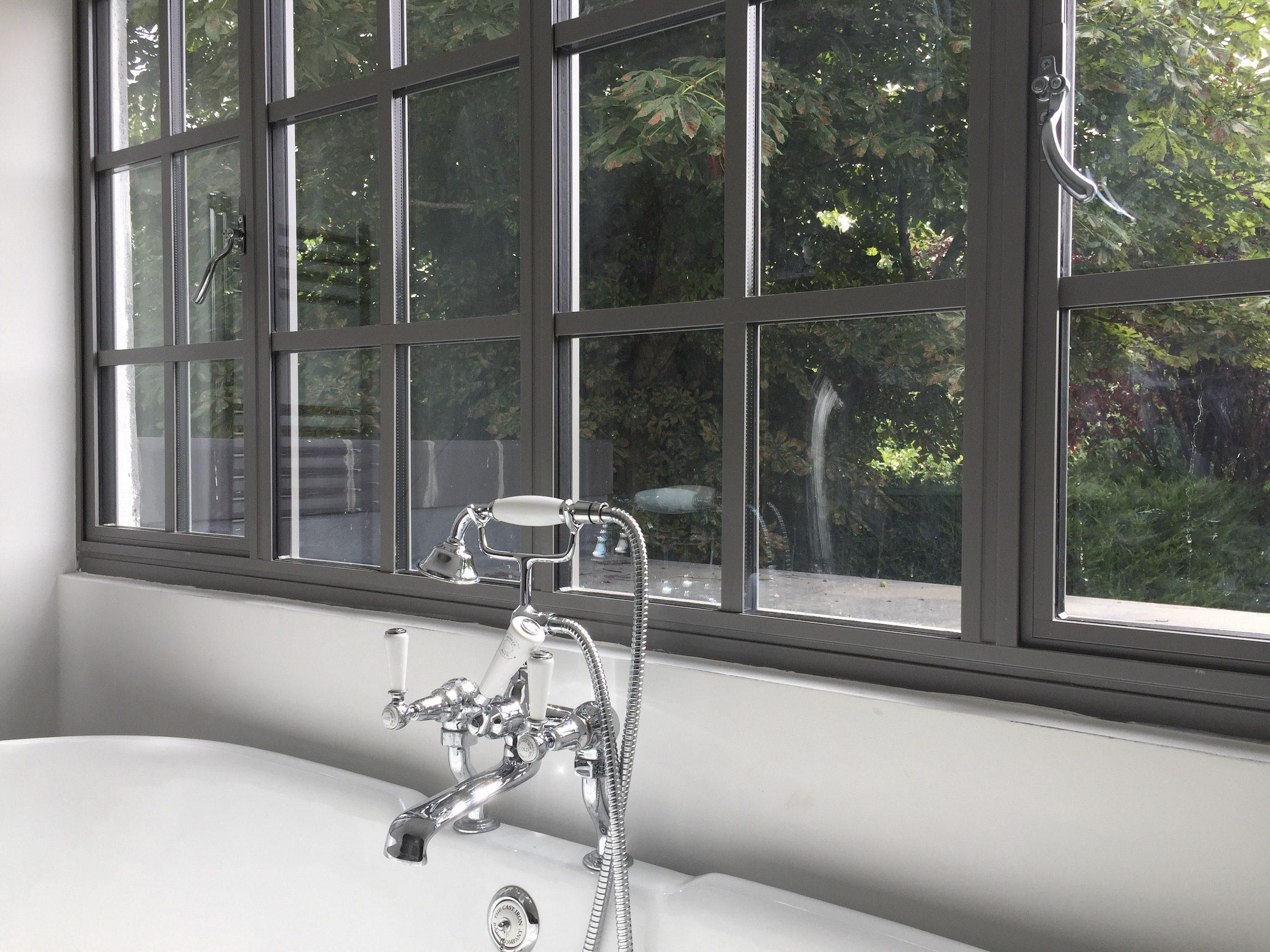 Aluco steel-look window in contemporary grey textured colour