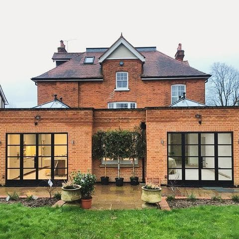 art-deco aluminium french doors in a large house