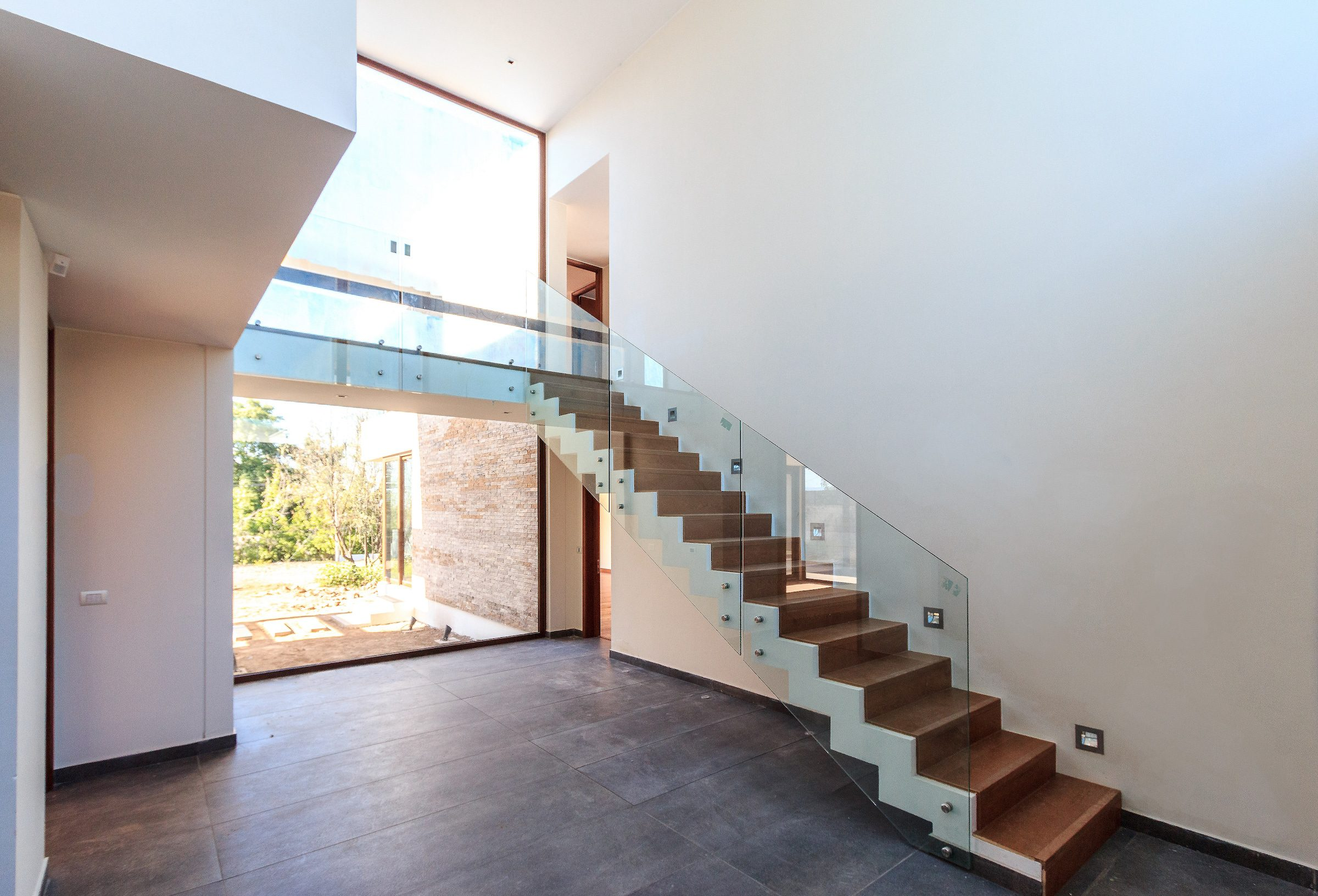 panoramic types of aluminium windows in a mansion house