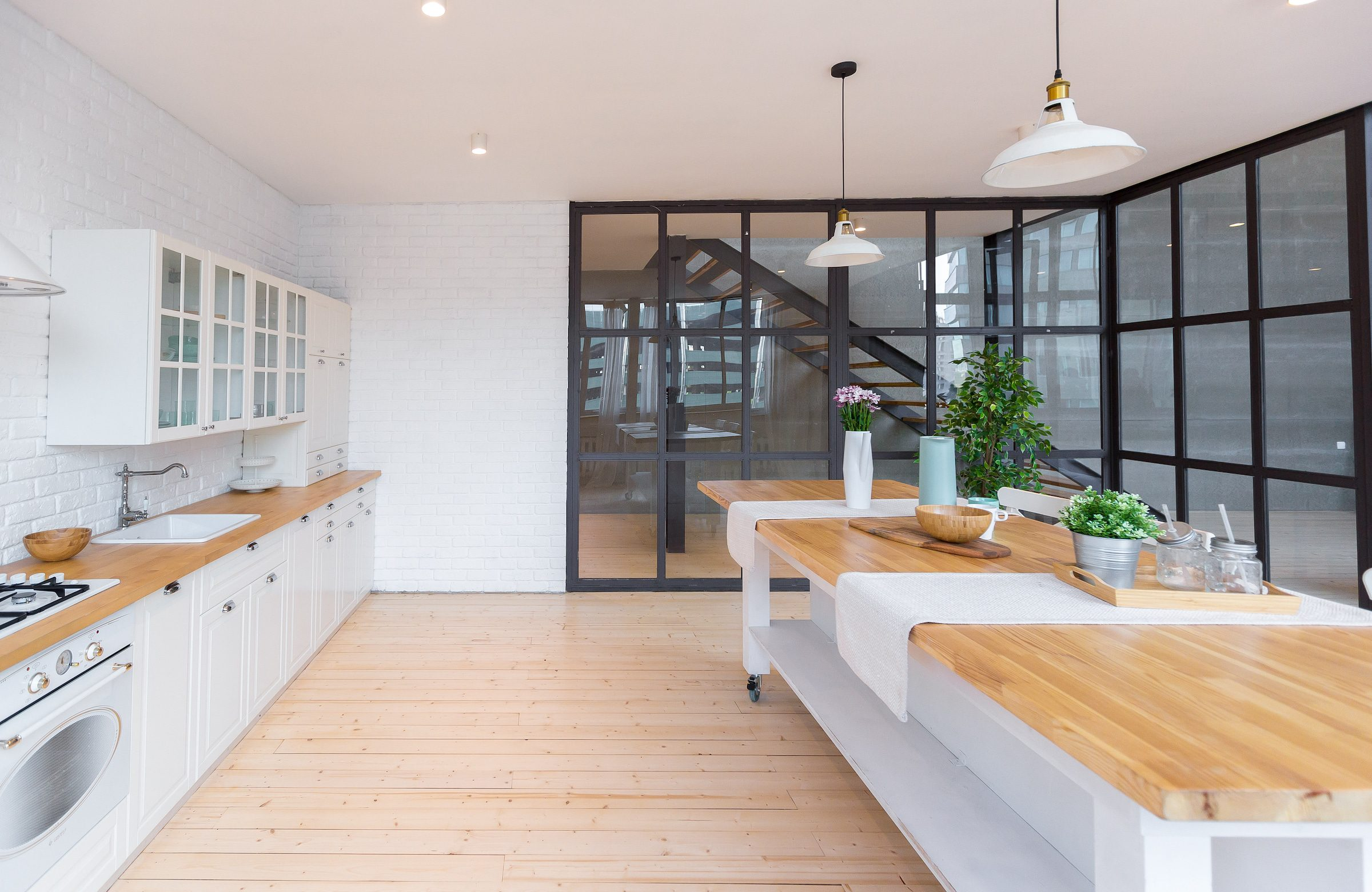 aluminium crittall style room divider in a modern kitchen
