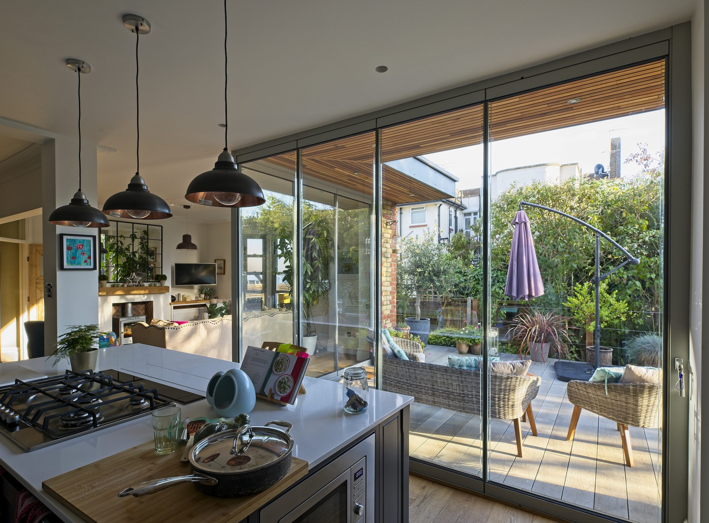 slide and stack doors closed with garden views